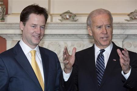 Britain's Deputy Prime Minister Nick Clegg (L) and U.S. Vice President Joe Biden pose for a photograph in Downing Street in central London February 5, 2013. REUTERS/Neil Hall