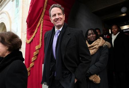 Outgoing U.S. Treasury Secretary Timothy Geithner arrives for the presidential inauguration on the West Front of the U.S. Capitol in Washington January 21, 2013. REUTERS/Win McNamee/Pool