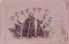 A rare 1865 baseball card showing the Brooklyn Atlantics baseball team, discovered at a Maine yard sale and considered one of the first baseball cards ever, is seen in an undated handout picture provided by the Saco River Auction Co. February 6, 2013. REUTERS/Saco River Auction Co/Handout