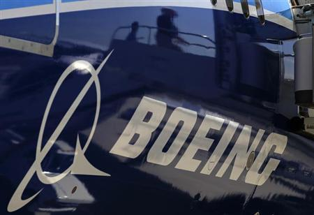 The Boeing logo is seen on a Boeing 787 Dreamliner airplane in Long Beach, California March 14, 2012. REUTERS/Lucy Nicholson/Files