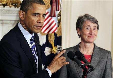 U.S. President Barack Obama announces the nomination of Sally Jewell, CEO of Recreational Equipment Inc., to Interior Secretary at the White House in Washington February 6, 2013. REUTERS/Yuri Gripas
