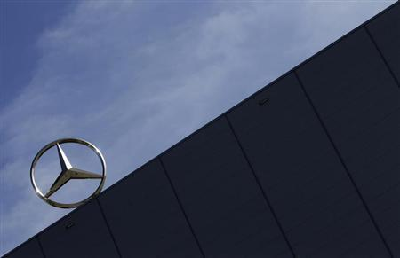 The Mercedes star is seen on top of the assembly hall of the new compact Mercedes Benz B-series, which went into production officially in Kecskemet, 100 km south of Budapeston March 29, 2012. REUTERS/Laszlo Balogh
