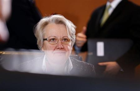 Germany's Education Minister Annette Schavan awaits the start of the weekly cabinet meeting at the Chancellery in Berlin January 23, 2013.