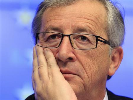 Luxembourg's Prime Minister Jean-Claude Juncker holds a news conference after stepping down as Eurogroup Chairman at a euro zone finance ministers' meeting in Brussels January 21, 2013.