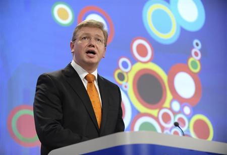 EU Enlargement Commissioner Stefan Fuele speaks during a news conference on enlargement at the EC headquarters in Brussels October 12, 2011. REUTERS/Eric Vidal