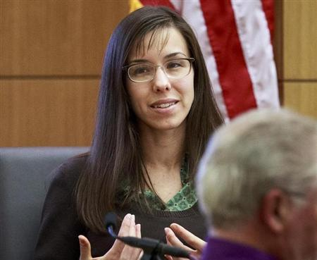 Jodi Arias gives testimony during her court appearance at the Maricopa County Superior Court in Phoenix, Arizona, February 6, 2013. REUTERS/Charlie Leight/The Arizona Republic/Pool