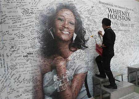 A Filipino fan writes a message on a tribute wall for late American singer-actress Whitney Houston that is displayed inside a mall in Manila February 15, 2012. REUTERS/Romeo Ranoco/Files