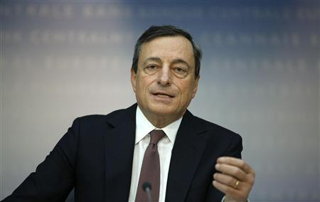 European Central Bank (ECB) President Mario Draghi attends the monthly ECB news conference in Frankfurt February 7, 2013. REUTERS/Lisi Niesner