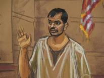 Un ciudadano de Bangladesh se declaró culpable el jueves de intentar usar un arma de destrucción masiva en lo que las autoridades estadounidenses calificaron de conspiración para hacer estallar la Reserva Federal de Estados Unidos. En la imagen, Quazi Mohammad Rezwanul Ahsan Nafis aparece en el tribunal en Nueva York, el 7 de febrero de 2013, en este dibujo de la sala. REUTERS/Jane Rosenberg