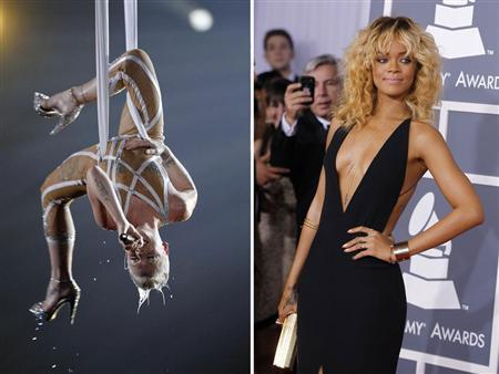 Pink performing and Rihanna arriving at the 52nd annual Grammy Awards in Los Angeles January 31, 2010. REUTERS/Staff