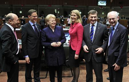 REFILE - REMOVING DUPLICATED REFERENCE TO DENMARK'S PRIME MINISTER (L-R) Romania's President Traian Basescu, Finland's Prime Minister Jyrki Katainen, Lithuania's President Dalia Grybauskaite, Denmark's Prime Minister Helle Thorning Schmidt, Estonia's Prime Minister Andrus Ansip and European Council President Herman Van Rompuy attend an European Union leaders summit meeting to discuss the European Union's long-term budget in Brussels February 7, 2013. European Union leaders begin two days of talks on a long-term budget on Thursday, with efforts to refocus spending on growth likely to be thwarted by demands for farm subsidies as pressure to reach a deal grows. REUTERS/Yves Herman
