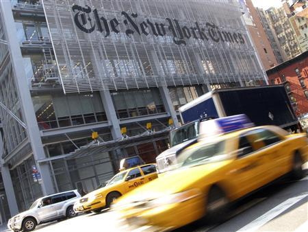 The headquarters of the New York Times is pictured on 8th Avenue in New York in this April 30, 2008, file photo. The New York Times Co on February 7, 2013, reported higher quarterly revenue as more people paid for its digital newspapers. REUTERS/Gary Hershorn/Files