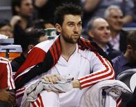 Toronto Raptors' Andrea Bargnani sits on the bench during the first half of their NBA basketball game against the Boston Celtics in Toronto, February 6, 2013. REUTERS/Mark Blinch