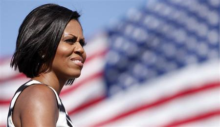 U.S. first lady Michelle Obama speaks during a visit to U.S. Marine Base Camp Pendleton in California June 13, 2010. REUTERS/K.C. Alfred
