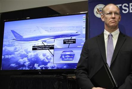 John DeLisi, director of the National Transportation Safety Board (NTSB) Office of Aviation Safety; attends a news conference on an investigation into the January 7 fire that occurred on a Japan Airlines Boeing 787 at Logan International Airport in Boston, in Washington February 7, 2013. REUTERS-Yuri Gripas