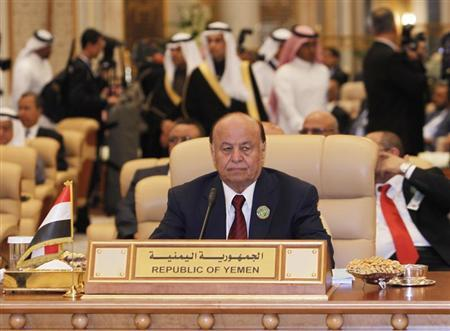 Yemen's President Abd-Rabbu Mansour Hadi attends Arab summit in Riyadh January 21, 2013. REUTERS/Fahad Shadeed