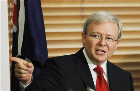 Australia's former Prime Minister Kevin Rudd reacts during a news conference at Parliament House in Canberra February 27, 2012. REUTERS/Daniel Munoz