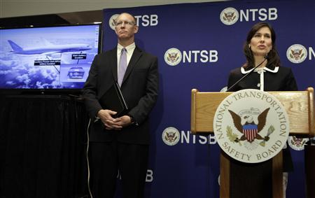 National Transportation Safety Board (NTSB) Chairman Deborah Hersman speaks next to John DeLisi, director of the NTSB Office of Aviation Safety; during a news conference on an investigation into the January 7 fire that occurred on a Japan Airlines Boeing 787 at Logan International Airport in Boston, in Washington February 7, 2013. REUTERS/Yuri Gripas