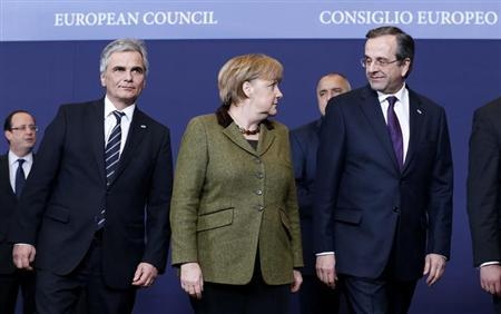 (L-R) Austria's Chancellor Werner Faymann, Germany's Chancellor Angela Merkel and Greece's Prime Minister Antonis Samaras leave a family photo during an European Union leaders summit meeting to discuss the European Union's long-term budget in Brussels February 7, 2013. European Union leaders begin two days of talks on a long-term budget on Thursday, with efforts to refocus spending on growth likely to be thwarted by demands for farm subsidies as pressure to reach a deal grows. REUTERS/Francois Lenoir (BELGIUM - Tags: POLITICS BUSINESS)