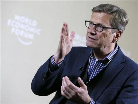 German Foreign Minister Guido Westerwelle is pictured during an interview with Reuters at the annual meeting of the World Economic Forum (WEF) in Davos January 26, 2013. REUTERS/Pascal Lauener (SWITZERLAND - Tags: POLITICS BUSINESS)