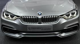 Close up view of the front of the BMW 4 Series Concept coupe as it is displayed at the North American International Auto Show in Detroit, Michigan January 14, 2013. REUTERS/James Fassinger