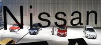 Nissan confirme sa prévision d'un bénéfice annuel de 320 milliards de yens (2,6 milliards d'euros), se distinguant ainsi de son concurrent Toyota qui lui a relevé ses objectifs à la faveur notamment du fléchissement du yen. /Photo d'archives/REUTERS/Kim Kyung-Hoon