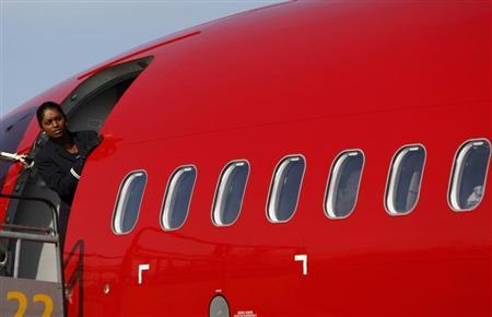 A stewardess looks out from a Norwegian Air Shuttle Boeing 737-800 at Budapest Airport February 2, 2012. REUTERS/Bernadett Szabo