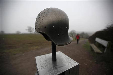 A mock soldier's helmet is displayed on the Bosworth Battlefield where it is thought King Richard III lost his life near Market Bosworth, central England February 5, 2013. REUTERS/Darren Staples