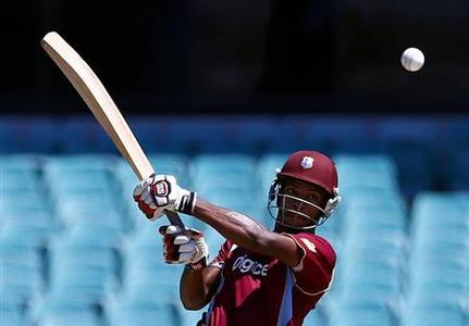 West Indies batsman Kieran Powell hits a shot during the limited overs international cricket match against Australia at the Sydney Cricket Ground February 8, 2013. REUTERS/Daniel Munoz