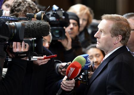 Ireland's Prime Minister Enda Kenny arrives at the EU council headquarters for a European Union leaders summit meeting to discuss the European Union's long-term budget in Brussels February 7, 2013. REUTERS/Laurent Dubrule