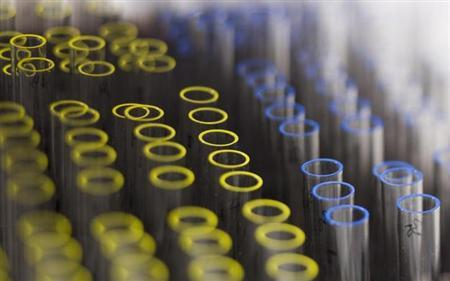 Test tubes are pictured at the Swiss Laboratory for Doping Analysis in Epalinges near Lausanne July 15, 2008. REUTERS/Valentin Flauraud/Files
