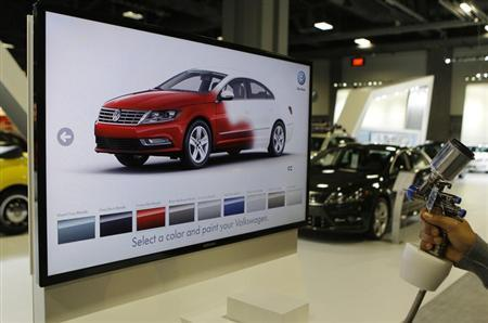 A unique Volkswagen consumer interactive display that allows potential buyers to spray paint different models in different colors is seen at the Washington Auto show February 6, 2013. REUTERS/Gary Cameron (UNITED STATES - Tags: TRANSPORT BUSINESS)