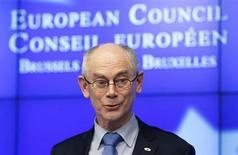 European Council President Herman Van Rompuy addresses a news conference after an European Union leaders summit in Brussels February 8, 2013. European Union leaders reached agreement on the first ever cut in their common budget on Friday after 24 hours of talks, seeking to placate millions at home struggling through government cutbacks and recession. REUTERS/Francois Lenoir (BELGIUM - Tags: POLITICS BUSINESS)