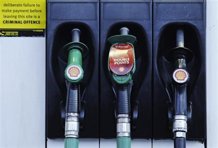 Fuel pumps are seen at a Shell petrol station in London January 31, 2013. REUTERS/Luke MacGregor