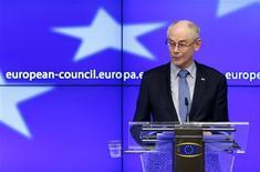 European Council President Herman Van Rompuy addresses a news conference after an European Union leaders summit in Brussels February 8, 2013. REUTERS/Francois Lenoir