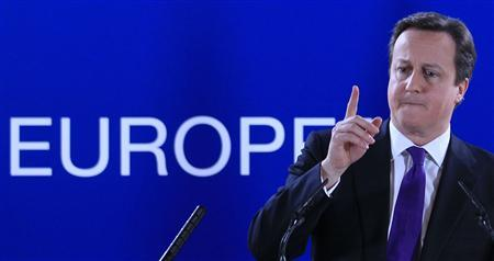 Britain's Prime Minister David Cameron speaks during a news conference at the end of an European Union leaders summit meeting to discuss the European Union's long-term budget in Brussels February 8, 2013. REUTERS/Yves Herman