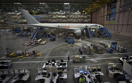 A Boeing 787 sits on the assembly line at the company's operations in Everett, Washington, October 18, 2012. REUTERS/Andy Clark/Files