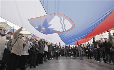 People hold up a Slovenian flag during a pro-government rally in Ljubljana February 8, 2013. REUTERS/Srdjan Zivulovic