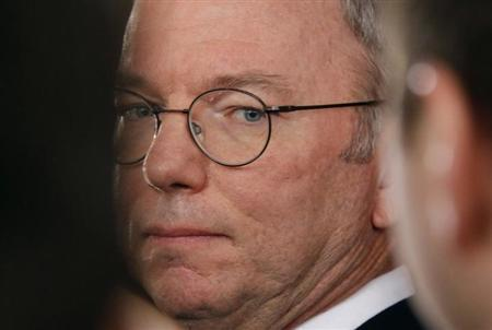 Google Executive Chairman Eric Schmidt is seen at a media briefing upon his arrival from North Korea at Beijing Capital International airport, January 10, 2013. REUTERS/Petar Kujundzic