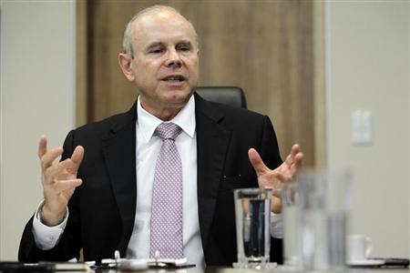 Brazil's Finance Minister Guido Mantega speaks during an interview with Reuters in Brasilia February 7, 2013. REUTERS/Ueslei Marcelino