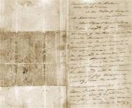 "A letter by William B. Travis, a lieutenant colonel in the Texas Army, written in 1836 during the Battle of the Alamo, is seen in this image provided by the Texas State Library and Archives Commission. The famous letter written by the commander of the small force of Texans defending the Alamo is being prepared by historians for display at the San Antonio mission for the first time since Travis wrote it there, pleading for reinforcements. As the battle raged outside, Travis wrote in the letter, ""I will never surrender or retreat."" With its dramatic ending -- ""Victory or Death!"" -- the letter is now considered one of the defining documents of 19th-Century American history. REUTERS/Texas State Library and Archives Commission/Handout"