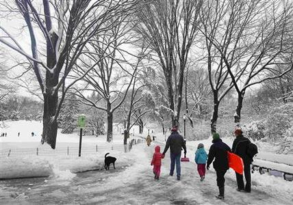 People arrive with their children and toboggans to a snowy Central Park in New York February 9, 2013. A blizzard packing hurricane-force winds pummeled the northeastern United States on Saturday, killing at least one person, leaving about 600,000 customers without power and disrupting thousands of flights. REUTERS-Carlo Allegri