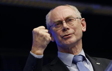 European Council President Herman Van Rompuy gestures during a news conference after an European Union leaders summit in Brussels February 8, 2013. European Union leaders reached agreement on the first ever cut in their common budget on Friday after 24 hours of talks, seeking to placate millions at home struggling through government cutbacks and recession. REUTERS/Francois Lenoir