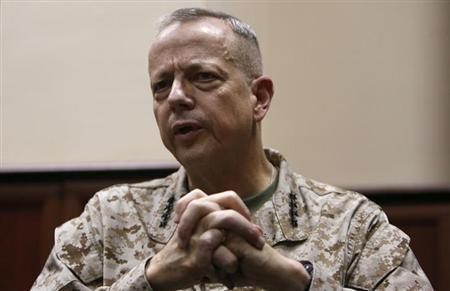 General John Allen, the commander of U.S. and NATO forces in Afghanistan, speaks during an interview in Kabul February 9, 2013. REUTERS/Mohammad Ismail