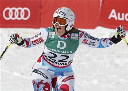 Marion Rolland of France reacts during the women's Downhill race at the World Alpine Skiing Championships in Schladming February 10, 2013. REUTERS/Leonhard Foeger