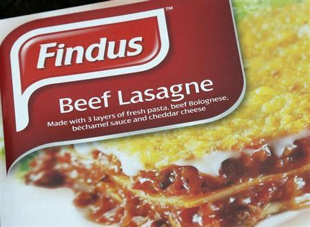 A 320g size box of Findus brand beef lasagne is seen after its purchase from an independent food store in Nunhead, southeast London February 8, 2013. REUTERS/Chris Helgren