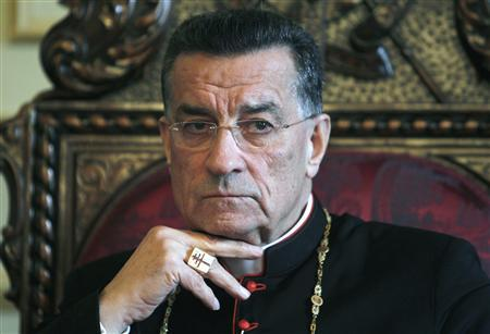 Lebanon's Christian Maronite Patriarch Beshara al-Rai, attends an interview with Reuters in Bkirki, north of Beirut, February 28, 2012. REUTERS/Sharif Karim