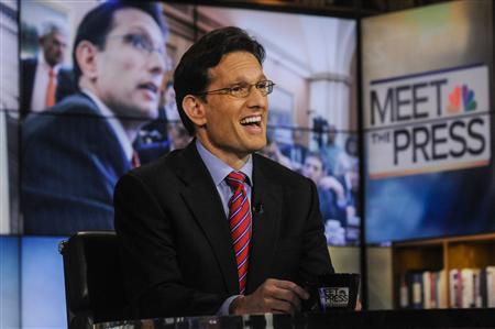 U.S. Rep. Eric Cantor (R-VA) the No. 2 Republican in the House of Representatives, appears on ''Meet the Press'' in Washington, February 10, 2013. REUTERS/William B. Plowman/NBC/NBC NewsWire/Handout