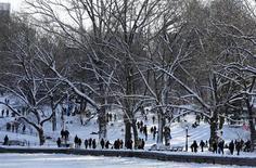 Várias pessoas passeiam no Central Park nevado, em Nova York, Estados Unidos, no sábado. 09/02/2013 REUTERS/Carlo Allegri