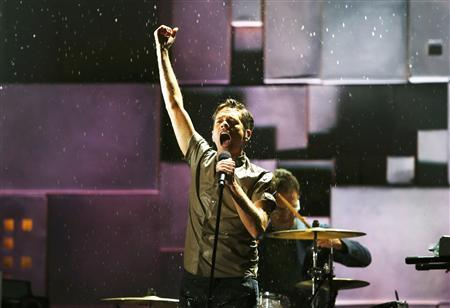 Nate Ruess, lead singer of Fun, performs at the 55th annual Grammy Awards in Los Angeles, California, February 10, 2013. REUTERS/Mike Blake